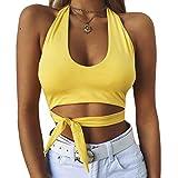 set-sail Frauen Sommer multicolor Fliege sexy Tau Nabel Sport Unterwäsche Shirt Weste Mode Weste ärmelloses T-Shirt (Gelb, S)