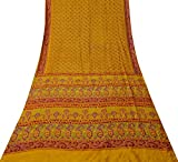 Vintage Indische Reine Seide Gelb Sari Blatt Gedruckt