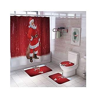 Toosexylingerie – Juego de 4 tapetes Antideslizantes para decoración de Pedestal de Navidad, tapete para baño, Cortina de Ducha, muñeco de Nieve