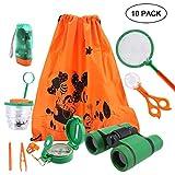 KOBWA Draussen Forscherset, 10 Stück Kids Adventurer Explorer Set mit Tragetasche - Fernglas Bug Catcher Taschenlampe Pinzette Insect Viewer Kompass Lupe & Schmetterlingsnetz für Camping
