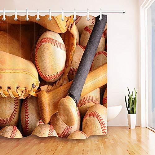 Yinyinchao Badezimmerdekoration,3D-Hd-Druck Verblasst Nicht,Vintage Baseball Holzschläger-Handschuh,Duschvorhang Aus Polyestergewebe,12 Duschhaken,180X180 cm,Wohnaccessoires (Baseball-handschuhe Gold, Und Grün)