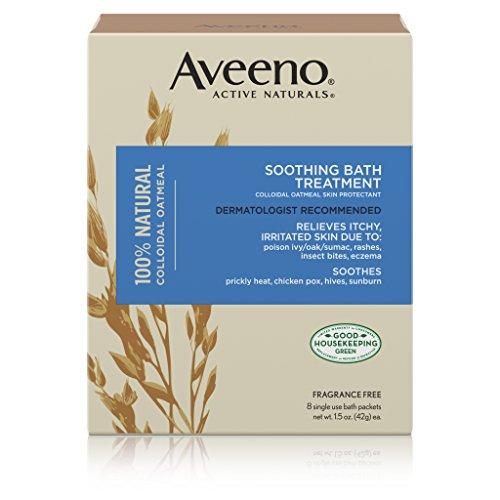 Aveeno Traitement de bain apaisant - Soulagement rapide (démangeaisons, peau sèche et sensible, coups de soleil, eczéma ou autre) - 8 sachets
