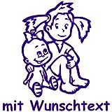 Babyaufkleber Autoaufkleber für Geschwister mit Wunschtext - Motiv G9-MM (16 cm)
