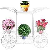 Soporte para flores y plantas, metal, diseño de carrito, color blanco