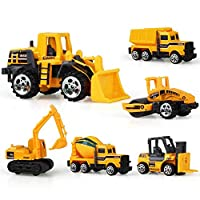Volwco Set of 6 Mini Construction Trucks, Engineering Vehicles Toys Sets for Kids - Dump Truck, Excavator, Road Roller, Bulldozer, Forklift and Cement Mixer, Free-Wheeling Cars Gift for Children
