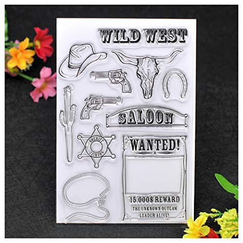 Kwan Crafts Wild West Stempel zum Basteln von Karten, Dekoration und DIY Scrapbooking