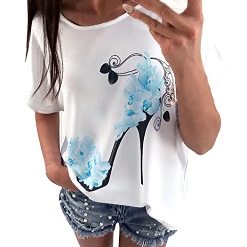 YunYoud 2017 Mode Damen Große Größe Hemd Kurzarm Kleider High Heels Gedruckt Tops Beiläufig Lose O-Hals Bluse Super bequem Baumwollmischung T-Shirt (L, Blau) (Tasche Floral Bestickte)