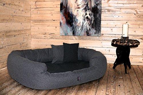 tierlando® LUXUS orthopädisches Hundesofa BALOU Hundebett Visco PLUS Matratze | Handwebcharakter | Premium-Lounge! Gr. XXL 140cm Grau Töne