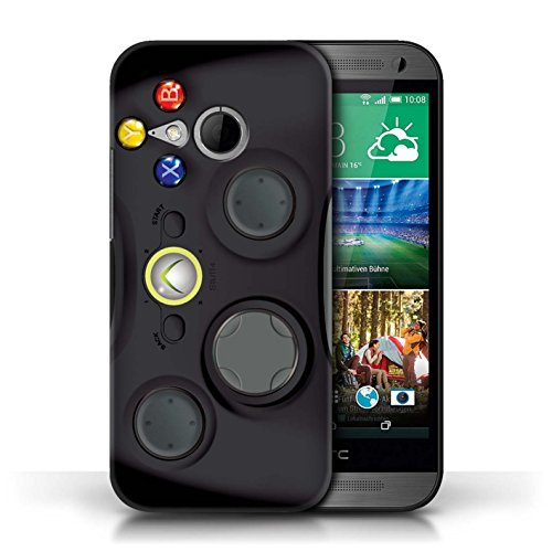 KOBALT® Protective Hard Back Case / Cover for HTC One/1 Mini 2   Black Xbox 360 Design   Games Console Collection