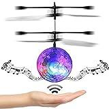Mini Flying RC Kugel, Flying Ball Drohne Spielzeug integrierte Disco-Musik Infrarot Sensing Induktion LED Beleuchtung Blinklicht mit farbigen Kristall Hand Aufhängung Hubschrauber Flugzeug für Kinde