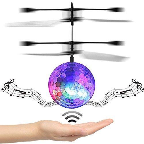 Mini Flying RC Kugel, Flying Ball Drohne Spielzeug integrierte Disco-Musik Infrarot Sensing Induktion LED Beleuchtung Blinklicht mit farbigen Kristall Hand Aufhängung Hubschrauber Flugzeug für Kinde (Kristall-musik)