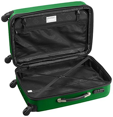 HAUPTSTADTKOFFER - Alex - 2er Koffer-Set Hartschale glänzend, 65 cm + 55 cm, 74 Liter + 42 Liter, Graphit-Blau Weiß-Grün