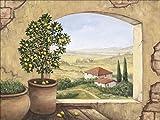 Artland Qualitätsbilder I Bild auf Leinwand Leinwandbilder Andres Fenster in der Toskana Landschaften Fensterblick Italien Malerei Creme A1TJ