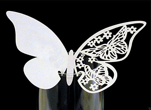 Leisial 50pcs Tarjeta de Boda Romántico en Forma de Mariposa para Vasos Copa Bodas Fiestas Cumpleaños Tarjetas de Nombre de Boda de Invitaciones
