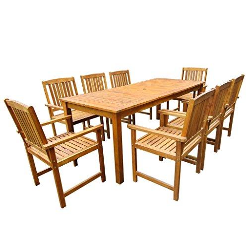 vidaXL Jeu de Table et Chaises d'Extérieur Jardin 9 pcs Acacia Massif Marron