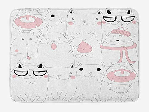 th Mat, Many Faced Bunch of Happy Sad Sleepy Sassy Cat Caricature Kids Nursery Theme, Plush Bathroom Decor Mat with Non Slip Backing, 29.5 W X 17.5 W Inches, White Pale Pink ()