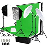Lusana Studio Soft Box and Umbrella Reflector Lighting Kit with Green White Black Backdrop Muslin and Support Stand, Premium Photo Video Studio, LNA1001