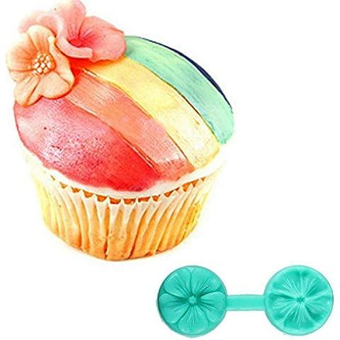 Paleo De silicona de doble cara flor de la impresión de la torta molde de la torta de azúcar en la decoración de molde