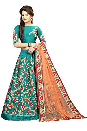 Arsh Impex Woman's Poly Silk Embroidered Semi Stitched Lehenga Choli(aarsh_5002_greeen)