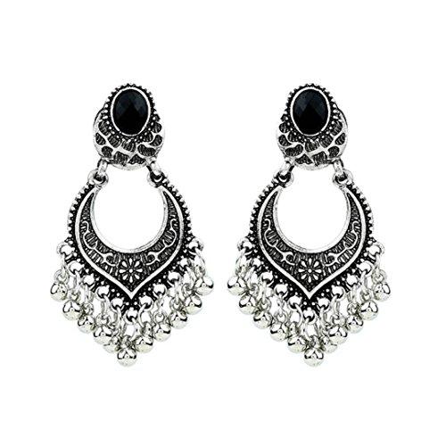 Xmansky Damen mode indisch Bollywood Schmuck Gold Überzogen Hochzeit Tragen Traditionell Polki Ohrringe (Silber)