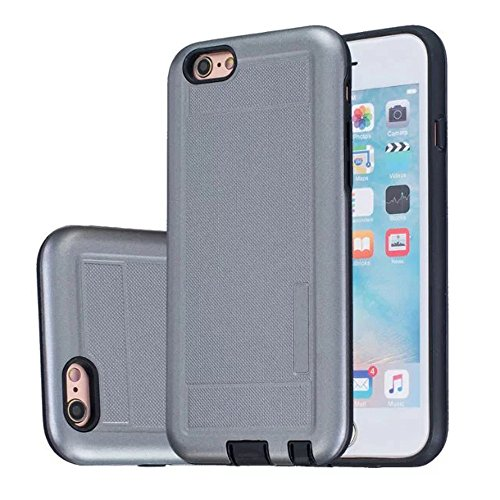 iPhone Case Cover 2 in 1 neue Rüstung Solid Color Dot Muster mattiert Stil Hybrid Dual Layer Rüstung Defender PC Hard zurück Fall Deckung Shockproof Fall Für Apple IPhone 5S SE ( Color : Gray , Size : Gray