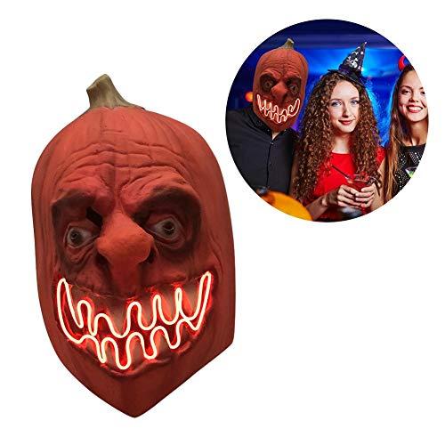 Halloween LED Licht Maske Halloween Kürbis Maske Dark Harvest Horror Scary Kostüm, Halloween Maske LED Leuchtmaske für Festival Cosplay Halloween Kostüm