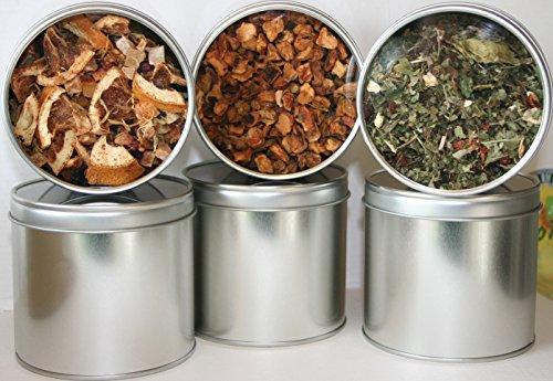 6 Teedosen, Motiv: uni silber mit Sichtdeckel, für ca. 100g Tee