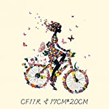 Ropa de parche de moda 20 cm flor de niña bicicleta transferencia térmica impresión camiseta mujeres de hierro en parches para la ropa
