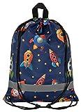 Aminata Kids - Kinder-Turnbeutel für Junge-n mit Weltall Astronaut-en Universum Planet-en Erde Weltraum Sport-Tasche-n Gym-Bag Sport-Beutel-Tasche bunt blau