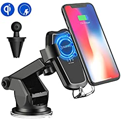 Wireless Car Charger Mount, Qi Car Charger Phone Holder, SONRU Wireless Fast Charger and Air Vent Stand Car Charger Dock for iPhone X/8/8 Plus, Samsung Galaxy S9/S9+, S8/S8+, S7/S7 Edge, S6 Edge, Note 8/5 & Qi Enable Devices (In-car)