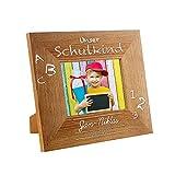 Casa Vivente Bilderrahmen mit Gravur zur Einschulung – Personalisiert mit Namen und Datum – Holzrahmen als Geschenk-Idee zum Schulanfang für Jungen, Mädchen, Eltern, Großeltern – Fotogeschenke