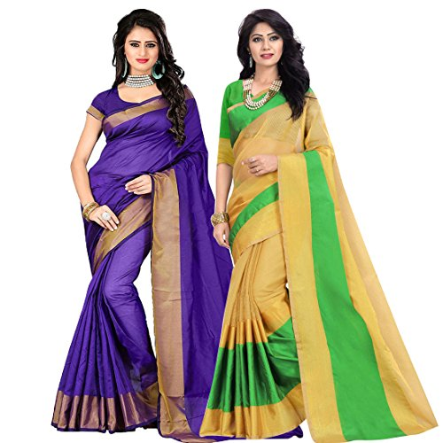 Pramukh Suppliers Women's Cotton Silk Saree With Blouse Piece (sarees for women latest design party wear) (D_P-BN_G)