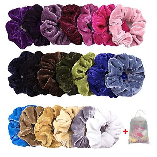 Scrunchies, 20 Stück Haargummis Mädchen Haar Scrunchies Samt Elastische Haarbänder Pferdeschwanz Haarband mit Tasche Bunten Haar Scrunchies
