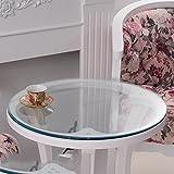 Mesa redonda de vidrio suave, mantel redondo de PVC impermeable, mantel redondo de la estera de tabla transparente, mantel plateado cristal helado , #1 , diameter 110cm