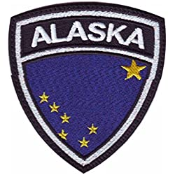 MAREL Patch Flag Bandera Alaska Parche termoadhesivo Embroidery Bordado cm 6,5 x 5,5