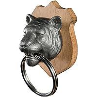 SUCK UK, Portachiavi magnetico a forma di testa di tigre, con targhetta in legno per attacco a parete, Multicolore (Bunt)