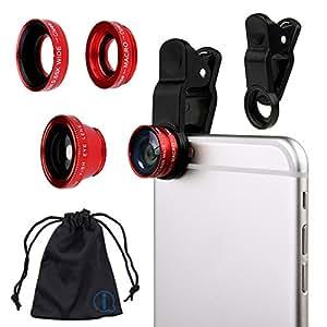 Red Clip On 180 Degrees Portable 3 in 1 Camera Lens Kit - FishEye - Wide Angle - Macro for ZTE Nubia Z11 Mini