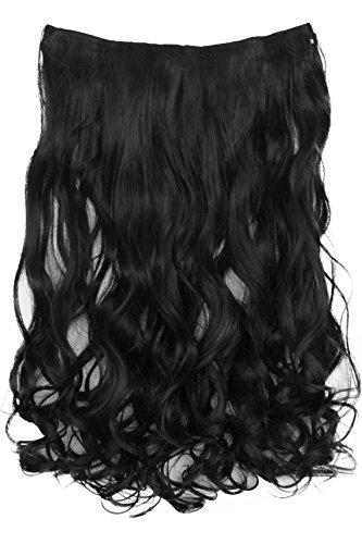 PRETTYSHOP 70cm oder 55cm Clip In Extensions Halbperücke Haarverlängerung Haarverdichtung Haarteil hitzebeständig wie Echthaar div. Farben (55cm tiefschwarz #1 C51-1)