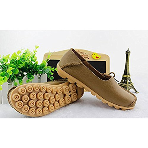 Oriskey Mocassins Femme Cuir Loafers Casual Bateau Chaussures de Ville Flats Kakhi