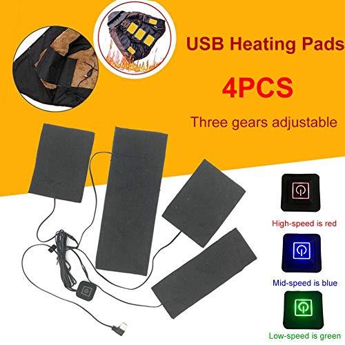 Lucky-all star USB Elektrische Heizpads 4 Stück Weste Wäsche Pads 3 Gänge Ajustable Abnehmbare Tragbare Kleidungswärmer Heizpads -