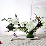 LSRHT Künstliche Blumen Set Ceramicstray Orchidee Wohnzimmer Dekoration Silk Blume Weiß