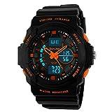 SunJas - Orologio sportivo elettronico, multifunzione, con quadrante a illuminazione LED, resistente e impermeabile fino a 30m, per sport outdoor arancione