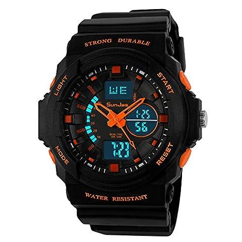 SunJas montre numérique Durable Montre Sport avec Écran Lumineux ,Multifonctions Bracelet Électronique, Étanche à L'eau Jusqu'à 50 M ,avec Lumière LED pour L'obscurité et de Sports Extérieurs