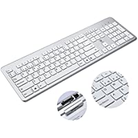 Aursen Teclado Inalambrico, 2.4Ghz Teclado Español Qwerty Aluminio Con Receptor USB Para Mac La Computadora/Ordenador para Windows 10/8/7/Vista/XP,Color Plata