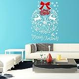 Kicode Fröhliche Weihnachten Fensteraufkleber weiß Aufkleber Schneeflocke Elch Herausnehmbare Fensterbehang