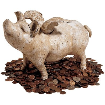 Design Toscano When Pigs Fly Authentic Foundry Iron Bank - Medium