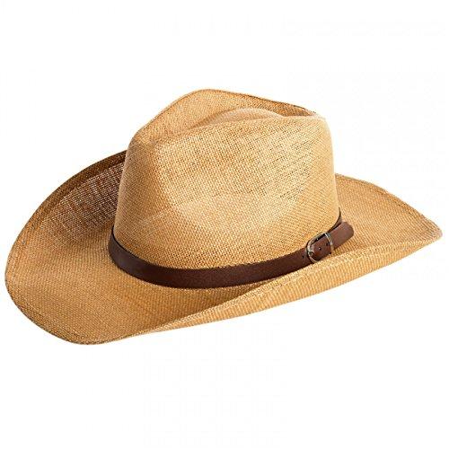 (CASPAR Herren Stroh Hut / Panama Hut / im Cowboy Stil mit braunem Gürtelband / Stetson - viele Farben - HT009, Farbe:camel;Hutgröße:L/XL - 60cm KU)