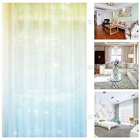 Kinlo 1 Paire 145*245CM Rideaux Voilages à Oeillets Imprimé Jaune-Blanc-Bleu en Polyester Rideaux Voile Occultant Anti-bruit à Protéger Secret et Meuble