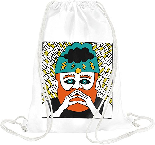 Hipster Redhair Beard Mouctache Guy Drawing Drawstring bag