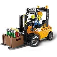Kit de estatuilla de resina, modelo de resina, juguetes de bloque de construcción de coche de la ciudad, juguetes de bloques de construcción compatibles para niños niños, regalos con ilustración de plástico ABS (Carretilla elevadora)